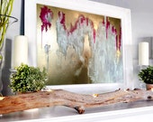 """Abstract large gold Painting, Gold wall art, Abstract gold, canvas art, 40"""" Large Painting, Gold Painting, Spray"""