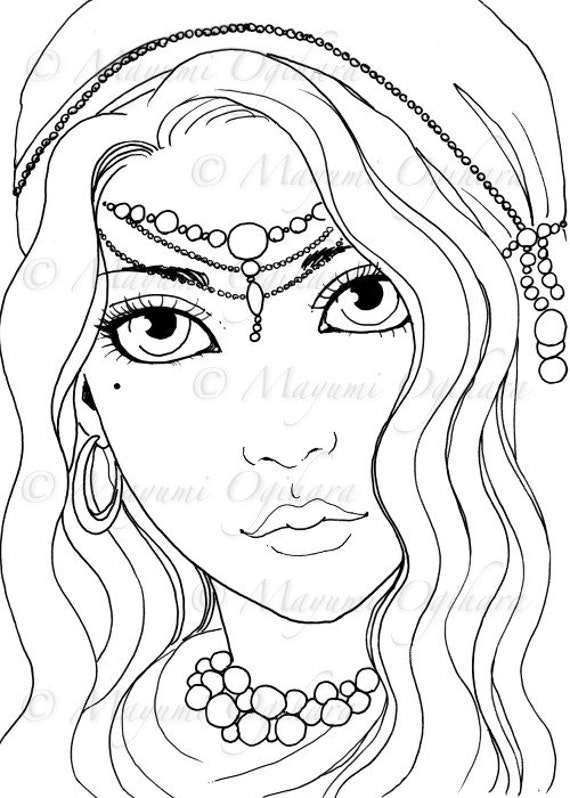 gypsy coloring pages | Gypsy Girl digital stamp colouring page printable instant