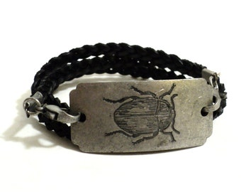 Scarab Leather Wrap Bracelet Beetle June Bug Dung Braided Black Jewelry Charm Cord Unique Gift For Her or Him Christmas Stocking Stuffer