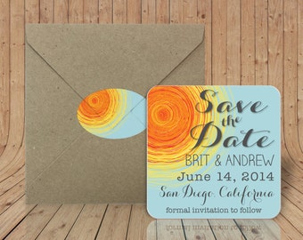 Custom Coasters - Sun Save the Date - Optional Craft Paper Envelopes with Matching Sealing Stickers