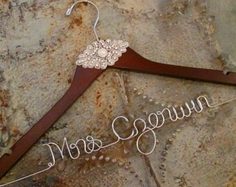 SALE + FREE Shoe Decals - Custom Personalized Bridal Hanger, Vintage Inspired Wedding, Bling, High Quality, Mrs Hanger, Last Name Hanger