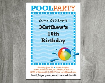 Pool Party Birthday Invitation - Swimming Party, DIY Party Printable, Swim Party, Pool Bash, Beach Party, Digital File, Teen Party, Custom