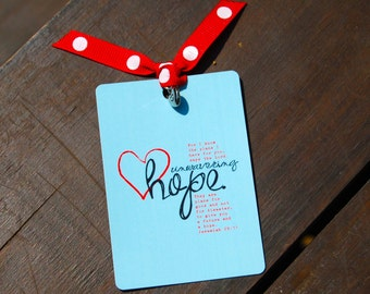 Unwavering Hope with Jeremiah 29:11 Bible Card . Accented with Ribbon and Charm