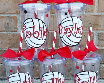 Volleyball Personalized Team Tumbler / Cup 16oz Acrylic