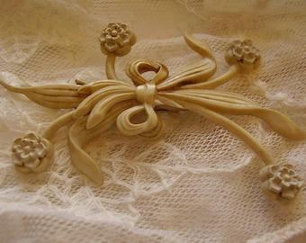 Antique Celluloid Flower Brooch Pin