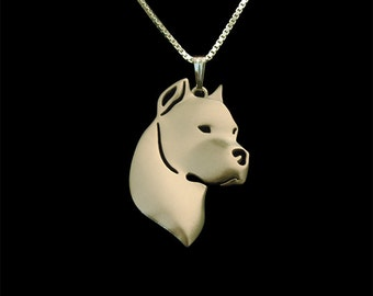 Dogo Argentino jewelry - Gold pendant and necklace