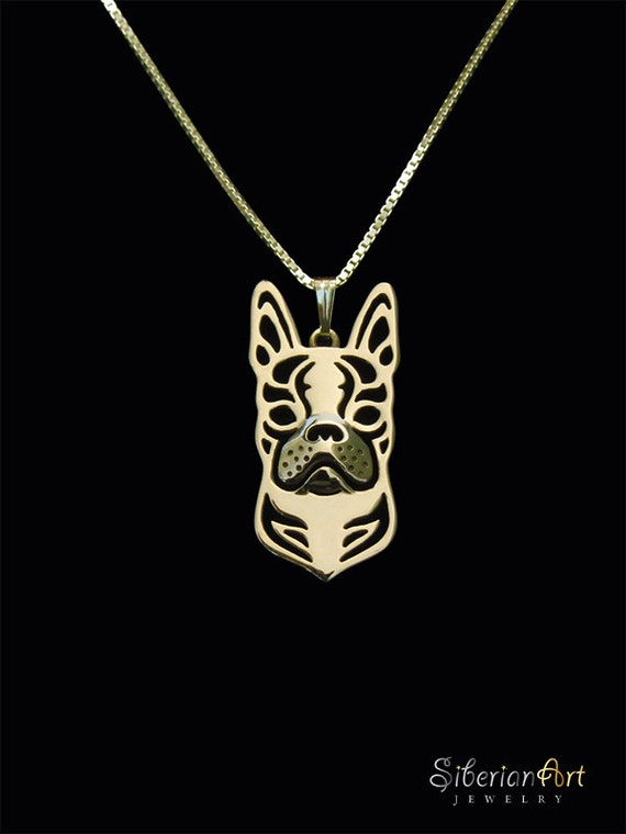 Boston Terrier - Gold pendant and necklace