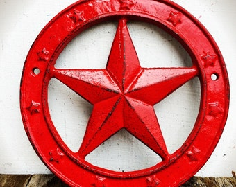 BOLD western star wall plaque // shabby chic bright apple red // Texas star // rustic cowboy country wall art // home decor