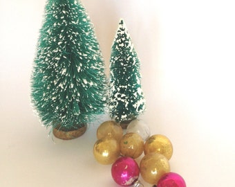 Vintage Glass Christmas Ornaments Small, Made in Japan Lot of 8, Feather Tree Ornaments