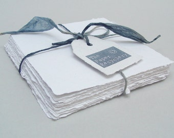 White 5x5 handmade papers, recycled, deckle edge, 10 sheets