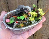 Fairy Garden Miniature Tub Garden/Miniature fish pond/Fairy Garden Accessory/Dollhouse water garden