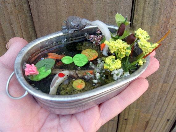 Fairy garden miniature tub garden miniature fish pond fairy for Garden pond tub