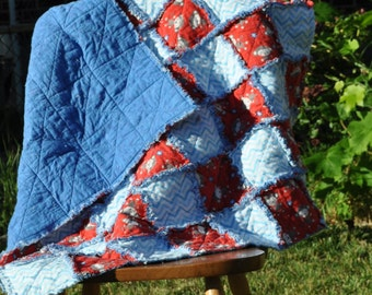 Monkey and Chevron Rag Quilt 39 in by 39 in