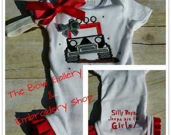 Jeep Applique Theme Infant Onesie with Ruffle Legs and Silly Boys Jeeps Are For Girls Butt Matching Hair Bow