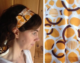 Vintage scarf | 1960s brown and gold extra wide headscarf