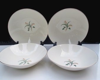 """Knowles China Accent Shape - Forsythia Pattern with Gold Rims - Freda Diamond Design - Medium Vegetable Serving Bowl 8"""" - 4 Available"""