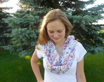 Bright Summer Floral Infinity Scarf, Dotted Swiss Scarf, Lightweight Summer Scarf, Cotton Scarf, Circular Scarf, Infinity Scarf, Summer Gift