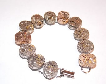 Steampunk Silver and Rose Gold Watch Movement Bracelet