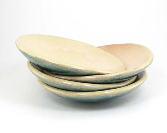 Small Round Plates, Set of 4 Shallow Bowls, Cream and Blue Stoneware Bowls, Dessert Dishes, Tapas Plates 11-13-29, 30, 31, 32