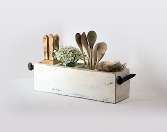 Primitive wooden box with railroad spike handles, rustic utensil holder