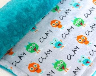 Custom Name Minky Blanket-Monster Baby Blanket-Baby Blanket-Minky Blanket-Baby Boy