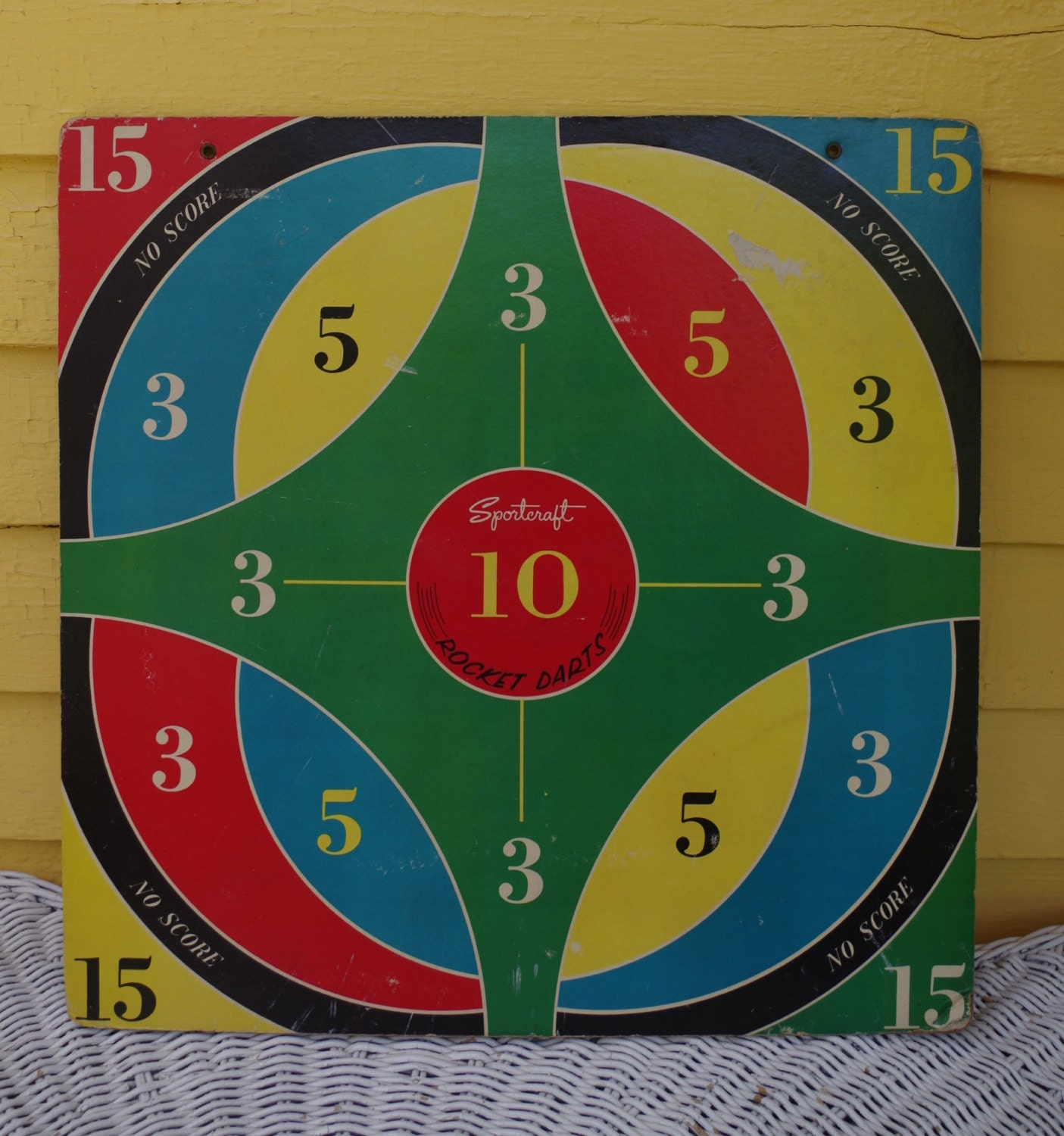 Vintage 1960s Sportcraft Rocket Darts Game Board With Suction