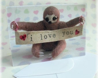 Sloth Love Card Mother's Day Valentines Wedding Anniversary Cute Thee Toed Sloths I Love You Greetings Cards Hearts Blank Inside