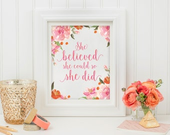 She Believed She Could | Wall Art Print | Quote Printable | Happy Printable Art | Inspirational Quote | Digital Art | Typography Quote