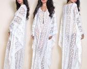 Sheer Ivory Lace Draped Beach Wedding Boho Resort Maxi Dress Gown Caftan OS