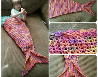 READY TO SHIP- Mermaid Tail Blanket - md wildflower