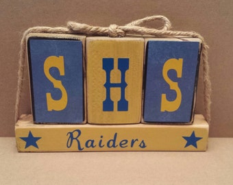 Wooden block set, Raiders, stars, football, school spirit