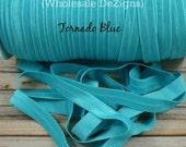 "Tornado Blue FOE - Fold Over Elastic - 5/8"" - Foe Headbands - Hair Ties - Shiny Satin Elastic - Robins Egg Blue"