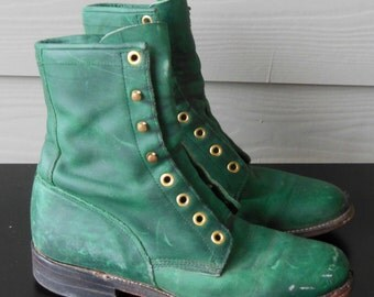 Vintage Justin Ropers Lace up Granny Boots Love the Green