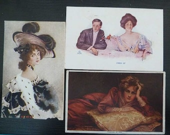 3 Edwardian Gibson Girls Postcards 1900s Charm Signed P.C.K. Rainthal & Newman N.Y.