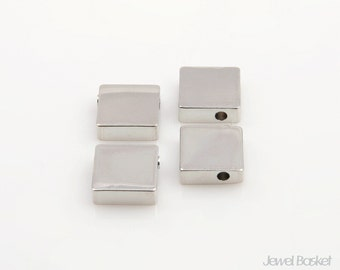 Square Beads in Rhodium / 8.3mm x 8.3mm / PS039-B (4pcs)