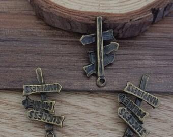 50PCS 23 x 13mm  Sign Charm-- Antique Bronze  charm