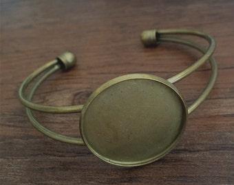 2pcs 25mm  Brass Bracelet Blank Cameo Base