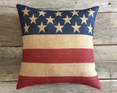 "18""Patriotic Burlap Pillow, Flag Pillow, 4th of July Pillow, Stars and Stripes Pillow, Americana Pillow,  Burlap Pillow, Memorial Day Pillow"