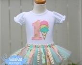Personalized Ice Cream Cone Gold, Aqua and Light Pink Polka Dots and Chevron Fabric Tutu Birthday Outfit