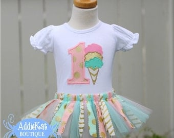 Personalized Gold, Mint and Light Pink Ice Cream Birthday Shirt