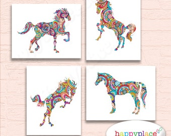 SET OF 4 Prints, Horse Wall Art, Horse Prints. Large Equine Wall Art, Suit Horse lover Gift idea or Girl's Rainbow Bedroom, Pony Wall Art,