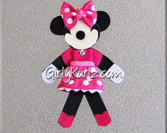 HOT PINK Minnie Mouse Hair Clip Minnie Hair Bow Minnie Hair Clip Ribbon Sculpture