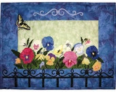 """Pansy and Butterfly Quilt, Wildfire Designs Alaska, Grandma's Garden, Paper Pattern, Quilted Wall Hanging, 16."""" X 21.5"""" Finished"""