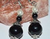 Black beaded silver earring