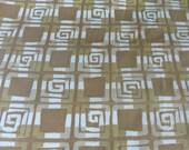 Tribal Design Cotton Fabric 3 Yards Graphic Brown Tan and White Print Medium Weight Mid Century Modern Design