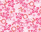 Fresh Flowers in Pink by Jane Dixon - Flamingos Collection from Andover - Fat Quarter, Half Yard or More