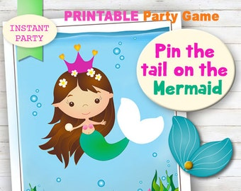 SMALL - Pin the Tail on the Mermaid - Printable party game. Jpeg, digital file. INSTANT PARTY.