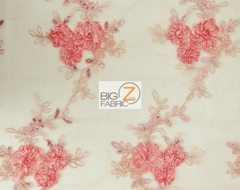 "Dahlia Flower Sequin Mesh Fabric - CORAL - Sold By The Yard 51""/52"" Width"