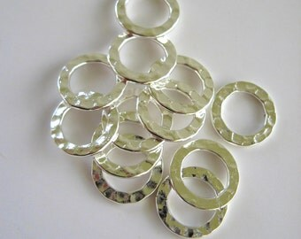 Hammered Silver Rings 12mm Hoops Round Circles Connectors Ring Silver Plated Links Findings Wholesale Jewelry Supply CrazyCoolStuff