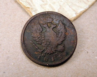 1813 Old Russian Coin Antique Copper Coin - 2 kopeck - c62